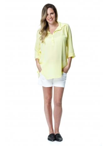 חולצת כפתור בשרוול צהוב בננה
