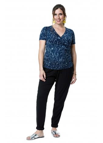 חולצת מעטפת כחולה פסים מפוזרים