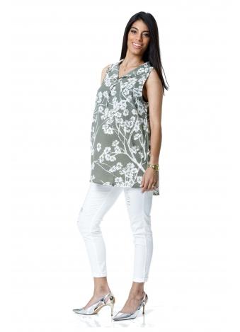 טוניקת ג'ינס ירוקה פרחונית