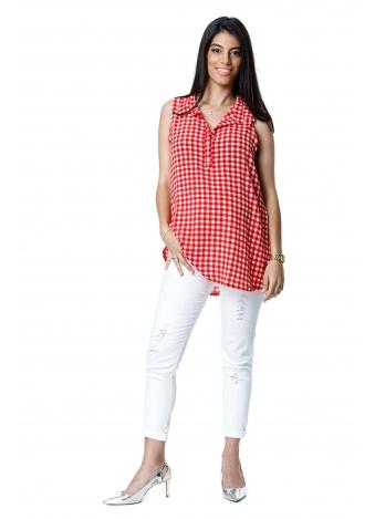 טוניקת ג'ינס אדומה משובצת