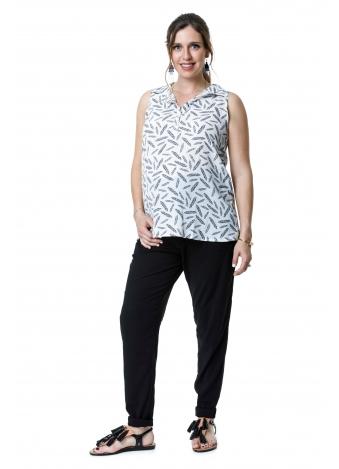 טוניקת ג'ינס לבנה עלים