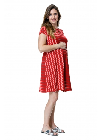 שמלת רונה אדומה פסים