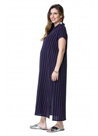 שמלת רותם מקסי כחולה פסים