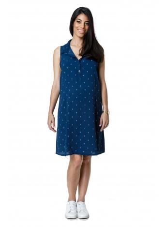 שמלת כפתורים כחולה