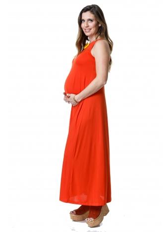 שמלת נאון מקסי כתומה