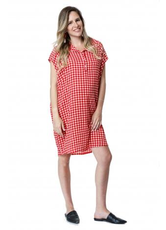 שמלת עלמה אדומה משובצת