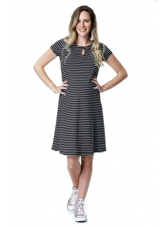 שמלת רונה שחורה פסים