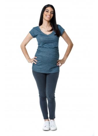 חולצת וי כחולה דוגמת סריג