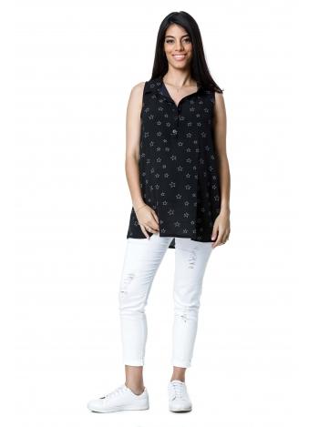 טוניקת ג'ינס שחורה כוכבים