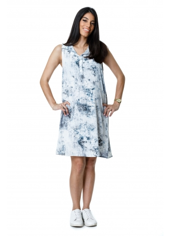 שמלת כפתורים לבנה זריקות צבע