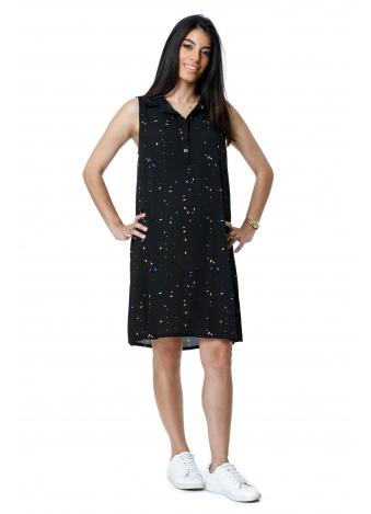 שמלת כפתורים שחורה מנוקדת צבעוני