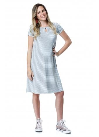 שמלת רונה אפורה פסים