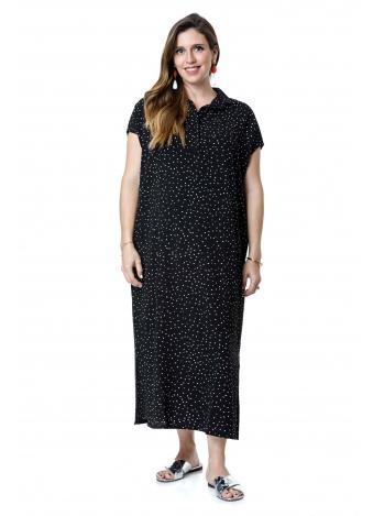 שמלת רותם מקסי שחור נקודות