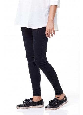 מכנס שלומית ארוך- סקיני קרעים אפור כהה
