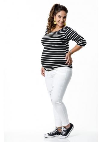 חולצת שרוול 3/4 פסים כחול לבן