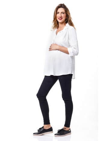 חולצת כפתור בשרוול לבנה