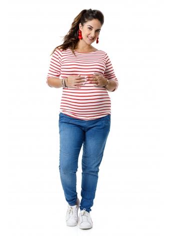 חולצת שרוול 3/4 אדום לבן פסים