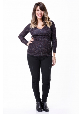 חולצת מיקה שרוול ארוך שחור מנוקד
