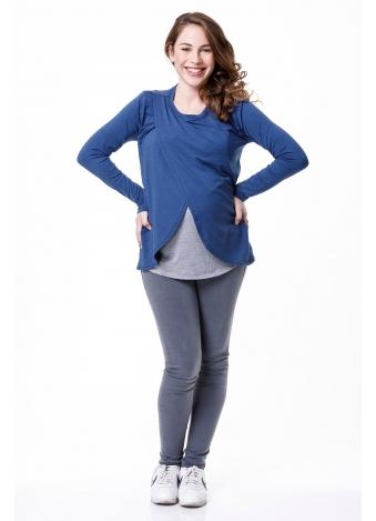 חולצת שילוב הנקה ש.ארוך כחול