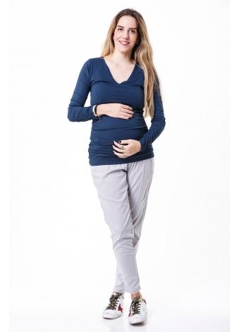 חולצת מיקה שרוול ארוך כחולה