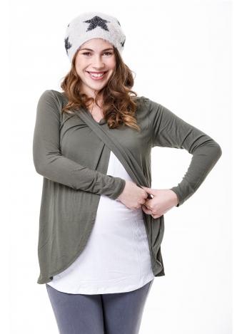 חולצת שילוב הנקה ש.ארוך ירוק זית