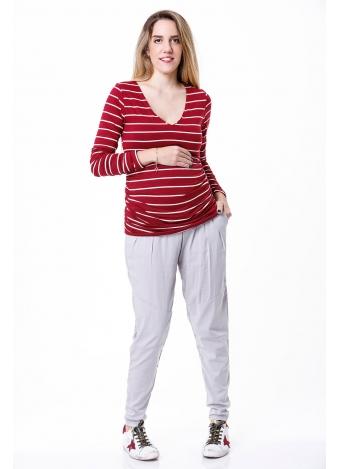 חולצת מיקה שרוול ארוך אדום פסים