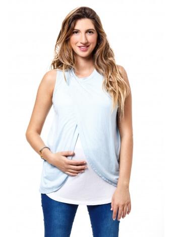 חולצת שילוב הנקה כחול לבן